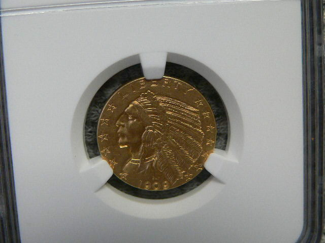 #C345 Indian 1909-D Half Eagles Five Dollar NGC MS61 Gold