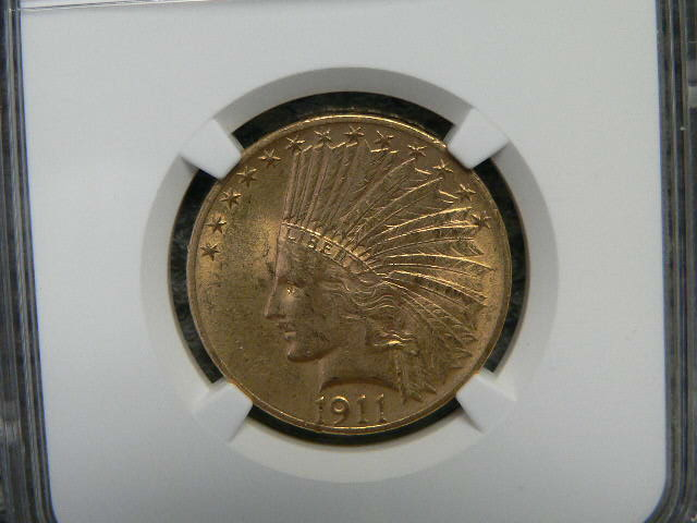 #C346 Indian 1911 Ten Dollar Eagles NGC AU58 Gold
