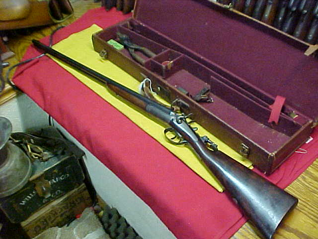 #4544  Cased Gye & Moncrieff Double Rifle, side by side barrels, fine back action locks